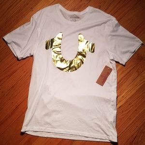 True Religion Gold Metallic Foil Horseshoe TShirt